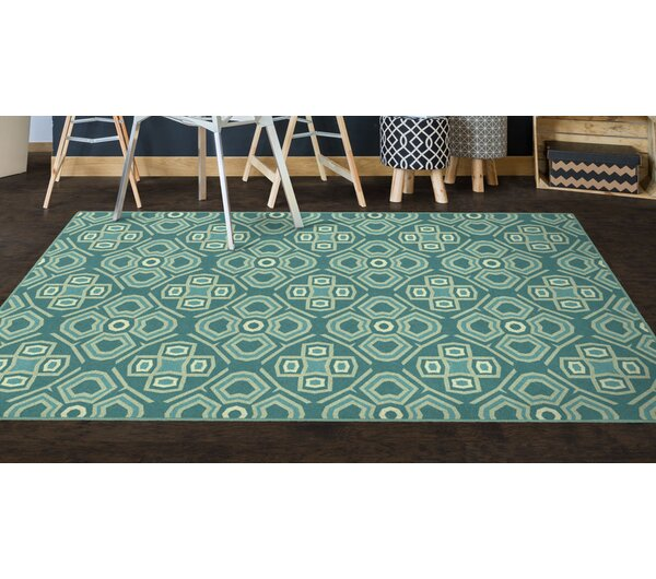 Fortner Teal, Geometric Teal Area Rug by Wrought Studio