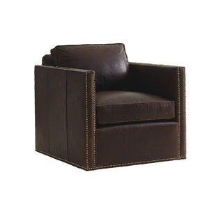 Shadow Play Leather Swivel Armchair by Lexington