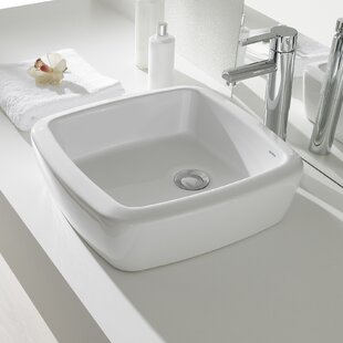 Find for Universal Ceramic Square Vessel Bathroom Sink with Overflow By Bissonnet