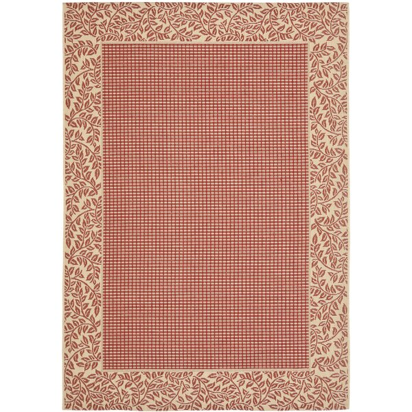 Short Woven Red / Natural Indoor/Outdoor Rug by Winston Porter