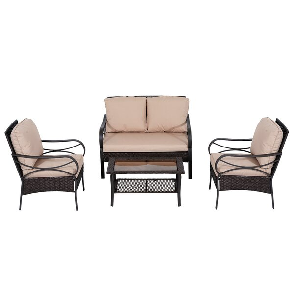Azaiah 4 Piece Rattan Sofa Set with Cushion by Winston Porter