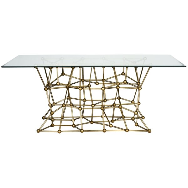 Iron Dining Table with Glass Top by Worlds Away