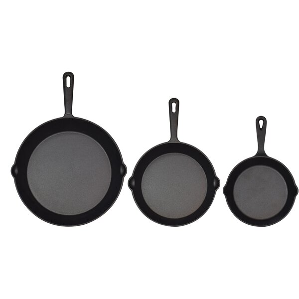 Pre Seasoned Cast Iron 3-Piece Non-Stick Skillet Set by Jim Beam