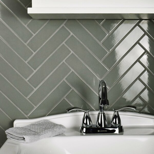 Retro1.75 x 7.75 Porcelain Subway Tile in Glossy Gray by EliteTile