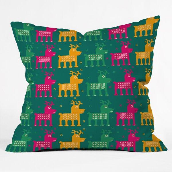 Gabriela Larios Reindeers Throw Pillow by Deny Designs