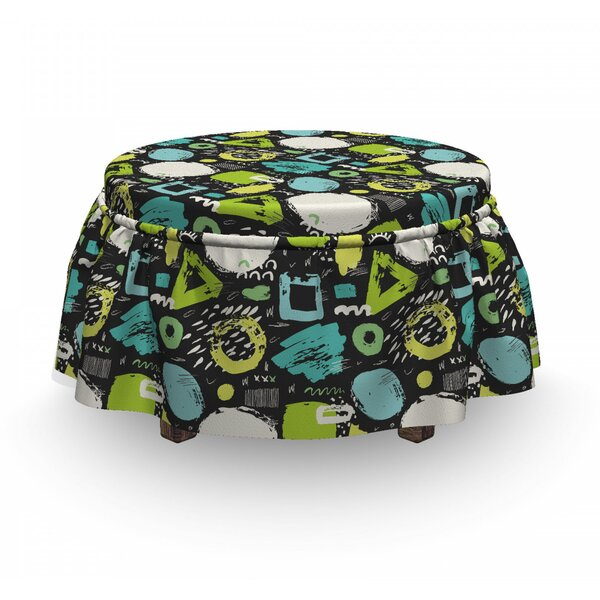 Sketchy Geometric Art Ottoman Slipcover (Set Of 2) By East Urban Home
