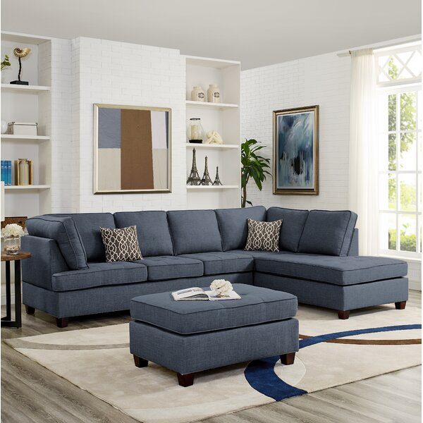 Buff Reversible Sectional with Ottoman by Brayden Studio