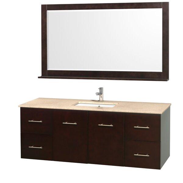 Centra 60 Single Espresso Bathroom Vanity Set with Mirror by Wyndham Collection