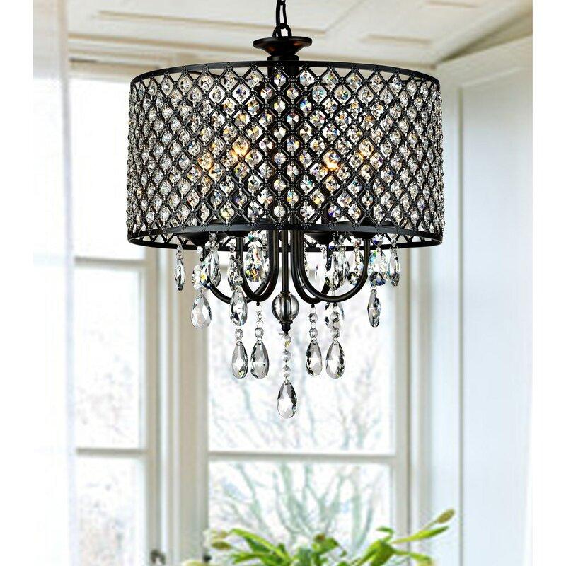 Jojospring round 4 light crystal chandelier reviews wayfair round 4 light crystal chandelier aloadofball Images