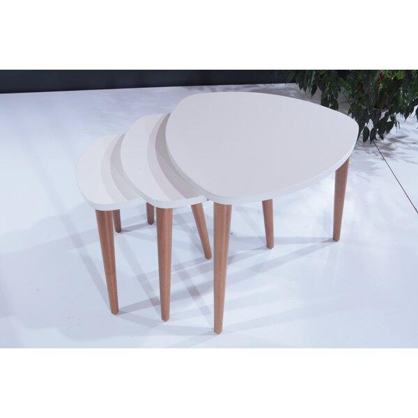 Check Price Reva Lightweight Stackable Triangular 3 Piece Nesting Tables