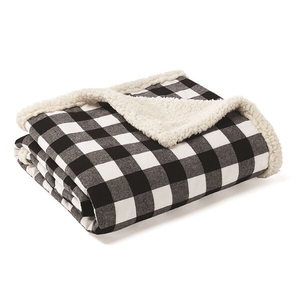 Cabin Plaid Sherpa Fleece Cotton Throw by Eddie Bauer
