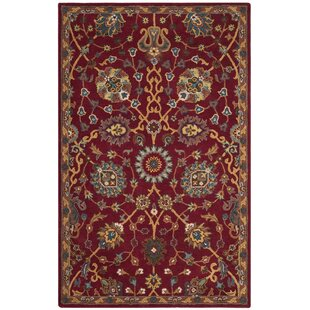 Rodney Handmade Wool Red/Beige Area Rug by Charlton Home