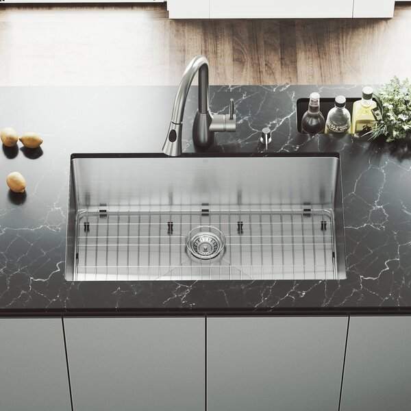 32 inch Undermount Single Bowl 16 Gauge Stainless Steel Kitchen Sink with Aylesbury Stainless Steel Faucet, Grid, Strainer and Soap Dispenser by VIGO