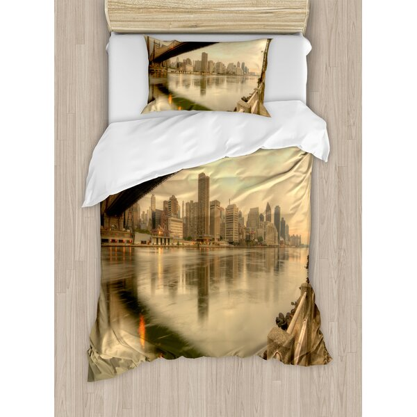 Queensboro Bridge Spanning the East River Duvet Set by East Urban Home