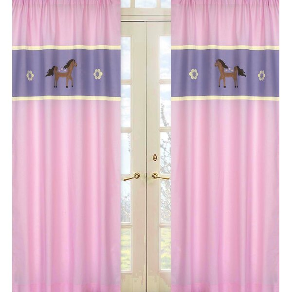 Pony Wildlife Semi-Sheer Rod Pocket Curtain Panels (Set of 2) by Sweet Jojo Designs