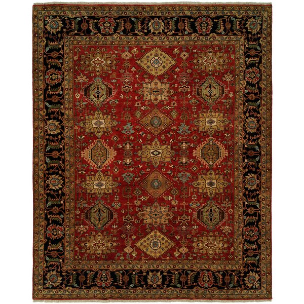 Mcmahon Hand Knotted Wool Red/Black Area Rug