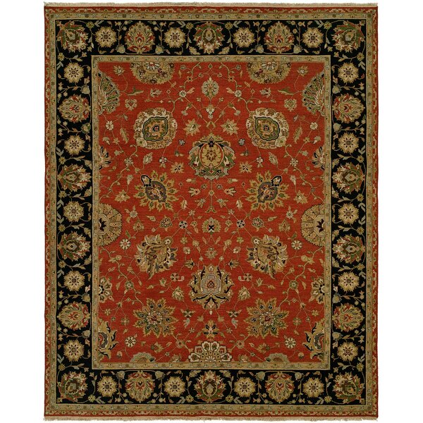 Forbesganj Hand-Knotted Rust/Black Area Rug by Meridian Rugmakers