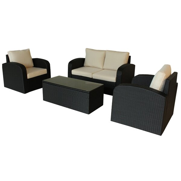 Tanguay Outdoor 4 Piece Rattan Sofa Seating Group with Cushions by Ivy Bronx