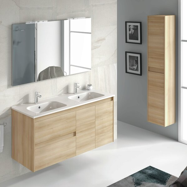 Ambra 48 Wall Mounted Double Bathroom Vanity Set with Mirror