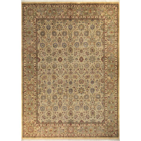 Bellville Persian Hand-Knotted Wool Gold/Ivory Area Rug by Astoria Grand