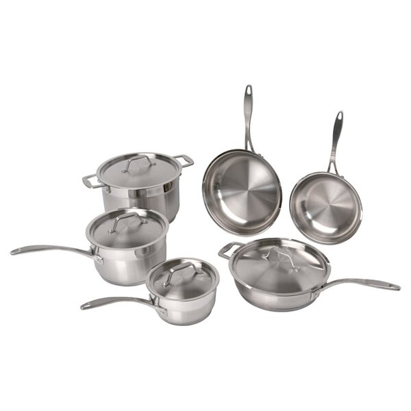 Castle Professional Copper Clad Stainless Steel 10 Piece Cookware Set by Mint Pantry