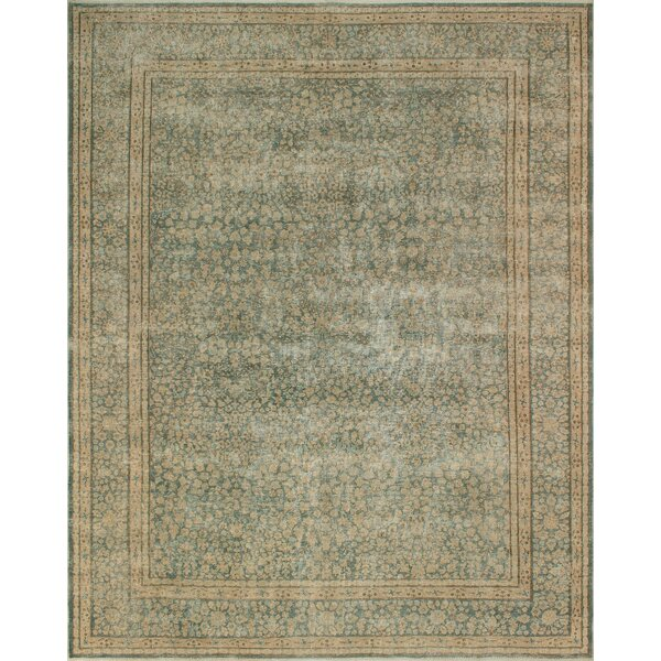 One-of-a-Kind Karan Distressed Hand-Knotted Wool Green/Beige Area Rug by Isabelline