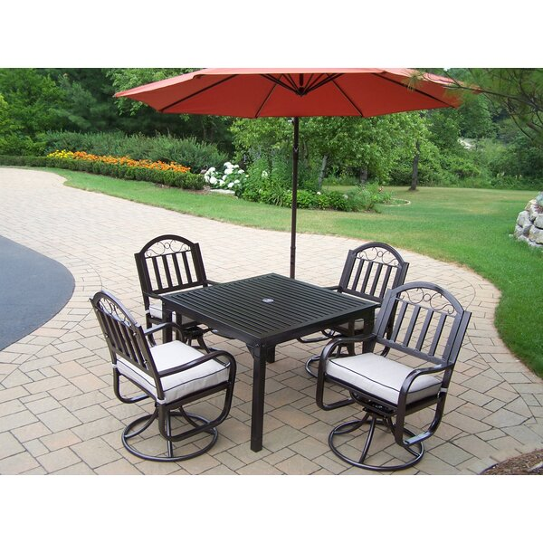 Lisabeth Swivel 5 Piece Dining Set with Cushions and Umbrella by Red Barrel Studio