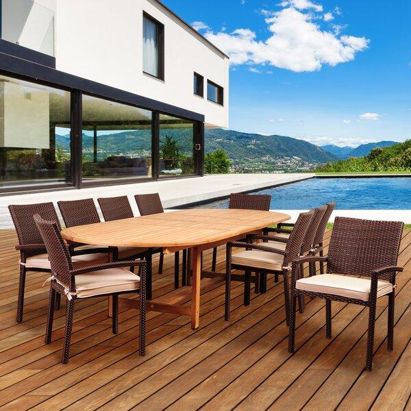 Arango 11 Piece Teak Dining Set with Sunbrella Cushions by Beachcrest Home