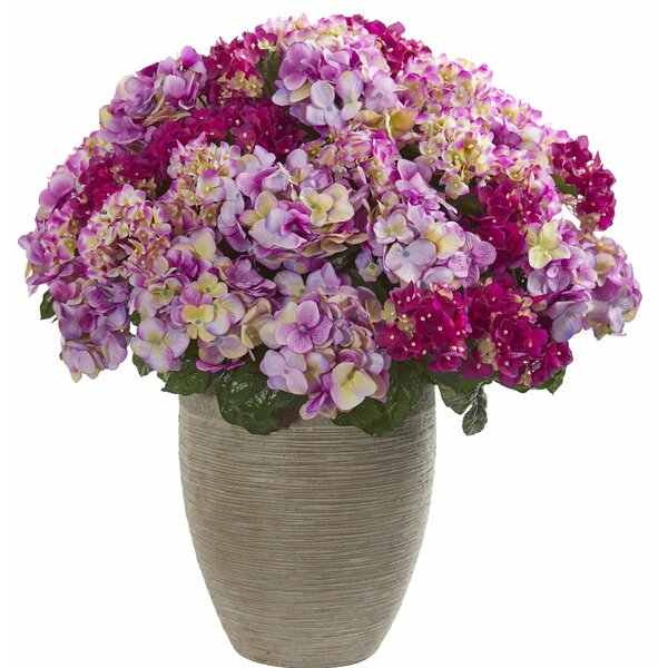 Artificial Hydrangea Centerpiece in Sand Planter by Darby Home Co