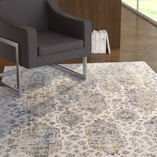 Ewers White/Gray Area Rug by Ebern Designs