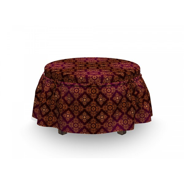 Damask Abstract Victorian 2 Piece Box Cushion Ottoman Slipcover Set By East Urban Home