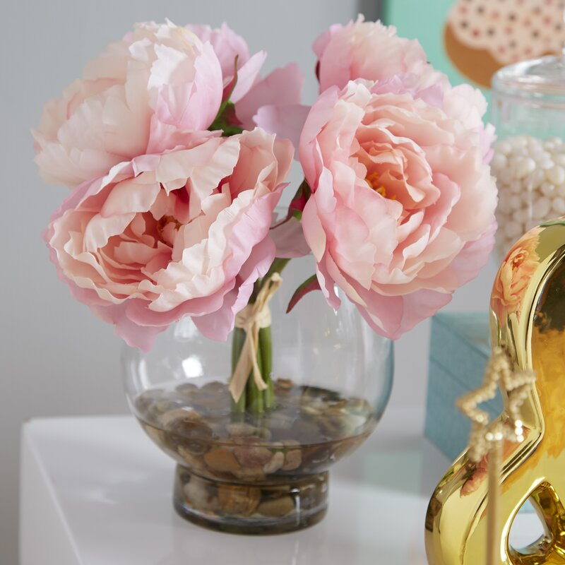 Ophelia Co Peonies In A Glass Vase With River Rocks And Faux