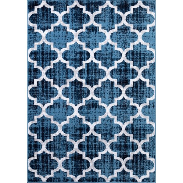 Lasher Blue/White Area Rug by Wrought Studio