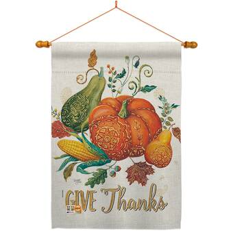 Breeze Decor Happy Thanksgiving Leaves Impressions Decorative 2 Sided Polyester 40 X 28 In Flag Set Wayfair