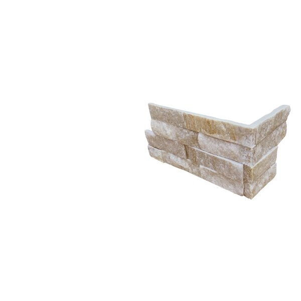 6 x 18 Quartzite Splitface Tile in White/Gold by MSI