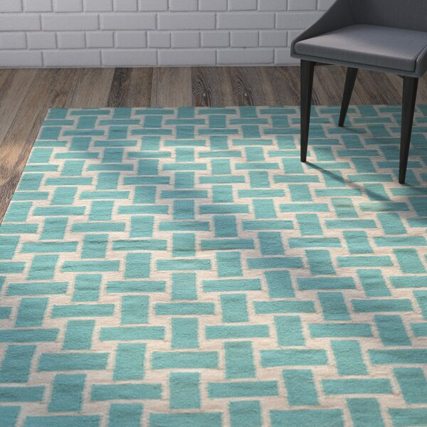 Hagler Hand-Woven Aqua Area Rug by Wrought Studio