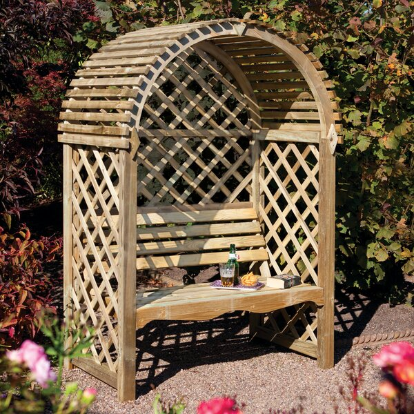 Victoria Timber Wood Arbor with Bench by Rowlinson