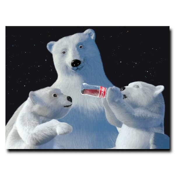 Coke Polar Bear with Cubs and Coke Bottle Vintage Advertisement on Wrapped Canvas by Trademark Fine Art