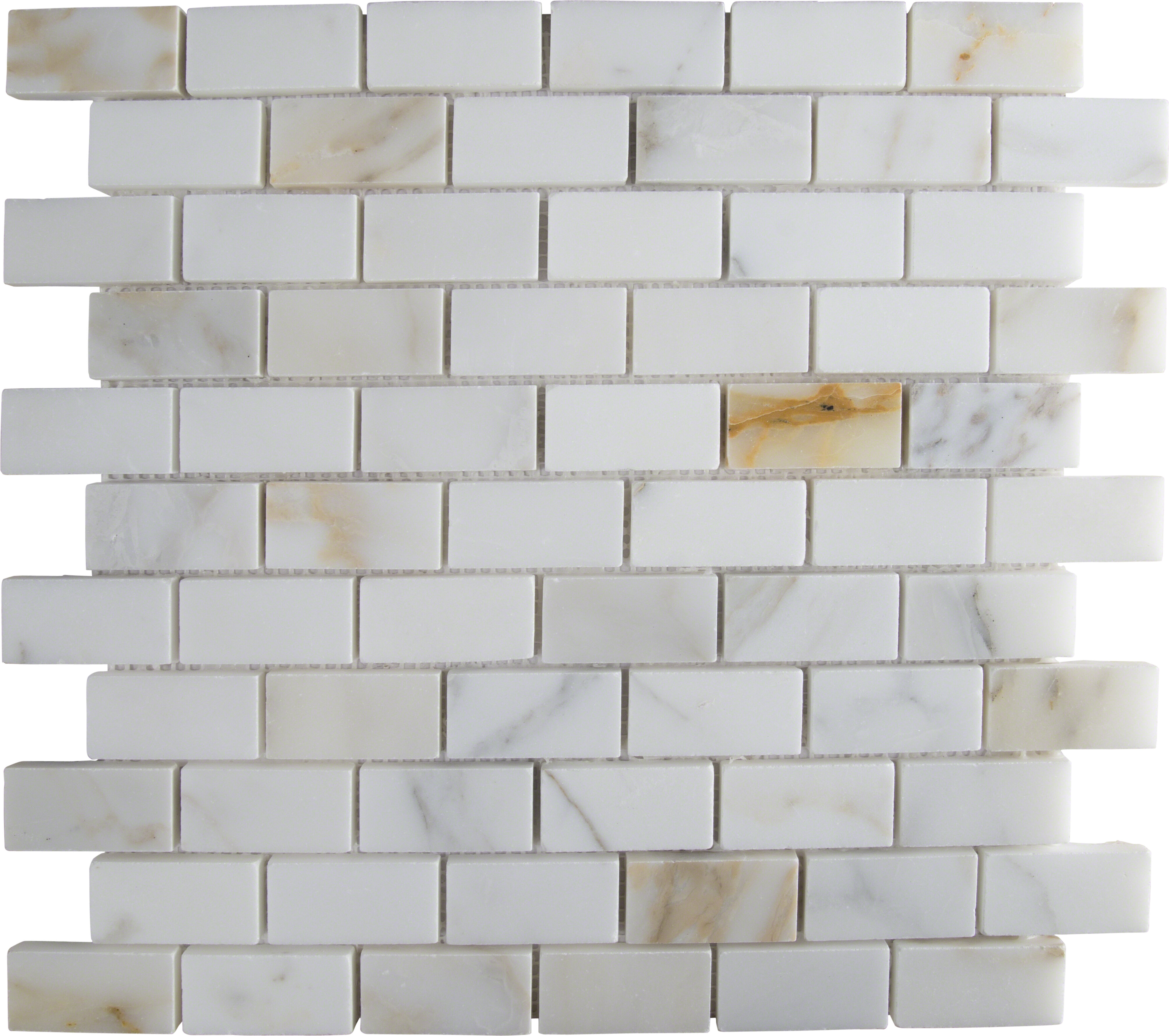 Msi Calacatta Gold Mounted 1 X 2 Marble Subway Tile In White