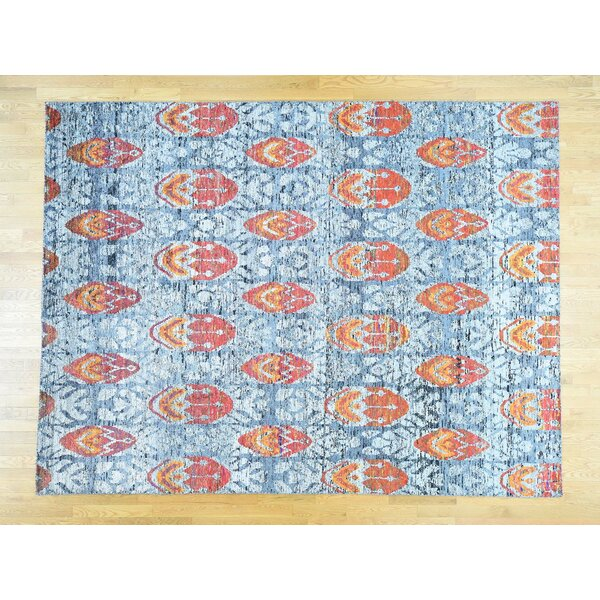 One-of-a-Kind Beatrix Ikat Design Handwoven Blue Silk Area Rug by Isabelline
