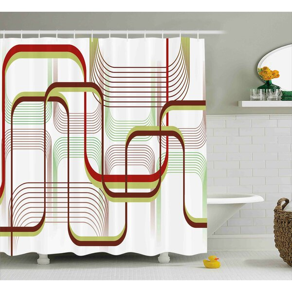 Karp Modern Geometric Contemporary Wavy Lines With Abstract Shapes Designs Art Image Shower Curtain by Wrought Studio