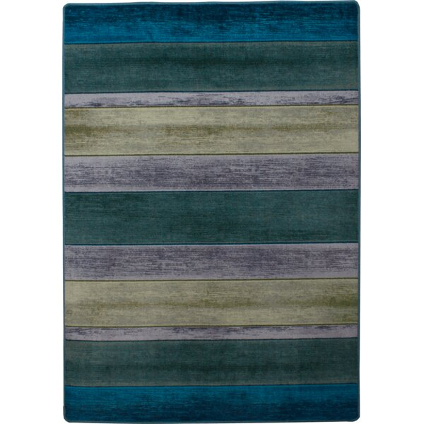 Coastal Bungalow Stripe Aqua Area Rug by American Dakota