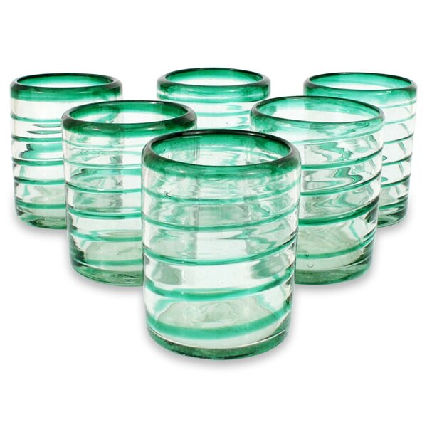 Emerald Spiral 14 oz. Highball Glass (Set of 6) by Novica