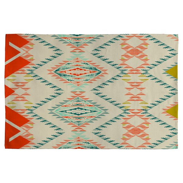 Marker Southwest Rug Off-white/ Red/Turquoise Area Rug by Deny Designs