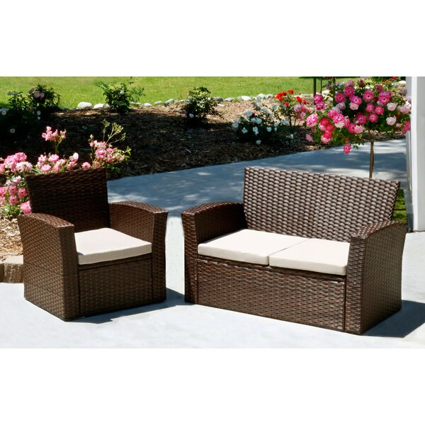 Hope 2 Piece Rattan Sofa Set with Cushions by Ivy Bronx
