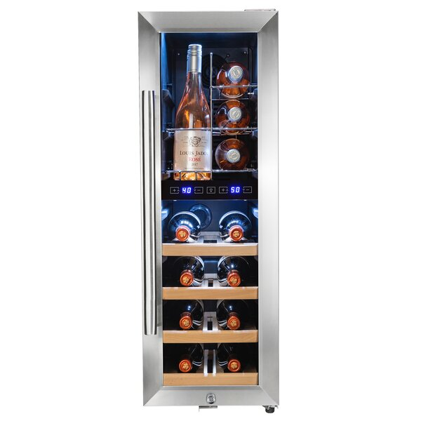 16 Bottle Touch Panel Wire Shelves Compressor Key Lock Dual Zone Freestanding Wine Cooler by AKDY