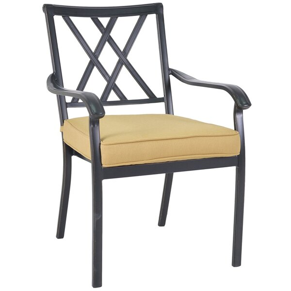 Gigi Cast Back Bistro Stacking Patio Dining Chair with Cushion (Set of 2) by Alcott Hill