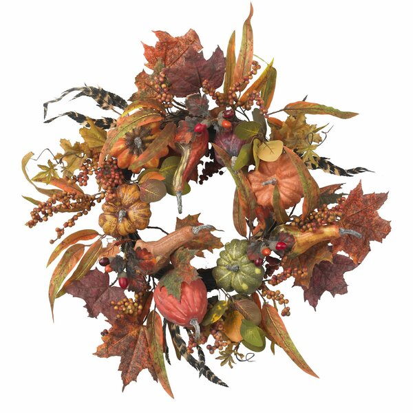 Pumpkin & Berry Wreath by Nearly Natural