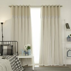 pauley best home fashion pleated tulle lace solid blackout curtain panels - Blackout Curtain
