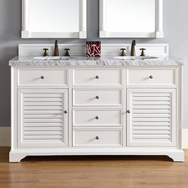 Osmond 60 Double Cottage White Stone Top Bathroom Vanity Set by Greyleigh